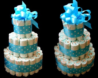 Diaper Cake Baby Boy Baby Shower Dots