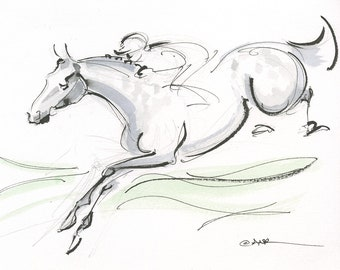 """Jumping horse, Grand National Race Day, Steeplechase, Race Horse, Original art by Anna Noelle Rockwell, """"Petit Mouchoir"""""""