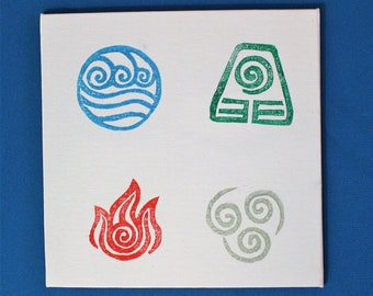 Large canvas print of the 4 elements from Avatar the Last Airbender