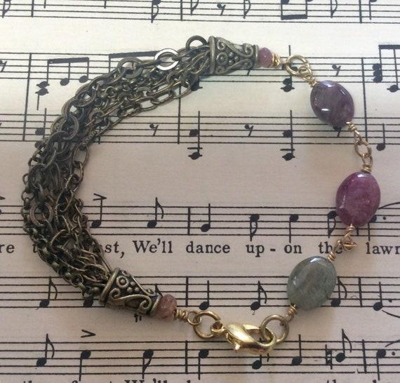 Tourmalene and brass chain bracelet