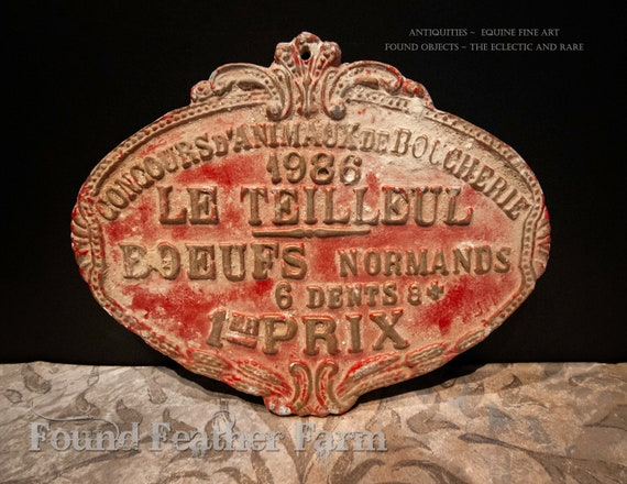 Vintage French Award for Livestock dated 1986
