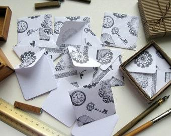 Antique Motifs Stamps on White Envelopes - Mini Stationery Set