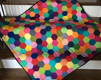 Homemade Baby Quilt ~ Rainbow Quilt ~ Patchwork Baby Quilt ~ Handmade Quilt ~ Gender Neutral Quilt ~ English Paper Pieced ~ READY TO SHIP!