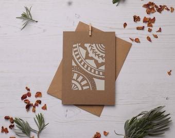 Mandala pattern card 2, Paper cut card, Greetings card, Colourful card, Mandala card, Pattern card FREE P&P