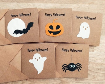 Pack of 5 handmade Halloween cards - happy Halloween - party invitations