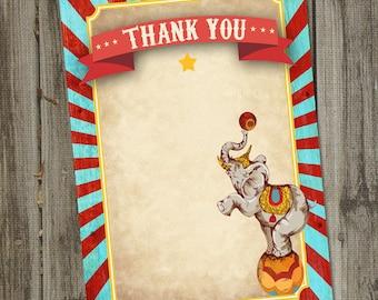 """Vintage Circus Birthday PRINTABLE 4x6"""" Thank You Card, Vintage Circus Party, Circus Party Decoration, Circus Birthday Decoration"""