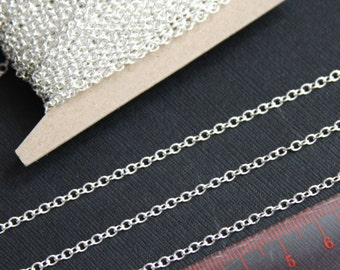 32 ft Silver plated chain,round cable chain 2X3mm, small cable chain, welded silver chain, iron chain