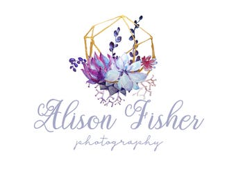 Premade Logo Watercolor Succulents Calligraphy Logo Photography Logo and Watermark Design Business Branding Marketing Predesigned Blog