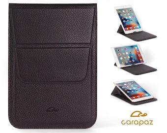iPad Mini Case Leather - iPad Mini Pouch - iPad Mini Cover - iPad Mini Sleeve - Stand Function - Grained Leather - BLACK