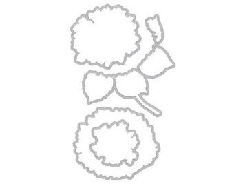Hero Arts: DI340 HYDRANGEA FRAME CUTS (G), die cuts match  wood stamp S6213, flower, scrapbooking, floral card making,  a2zscrapbooking