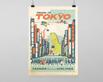 Tokyo Japan Travel - Vintage Reproduction Wall Art Decro Decor Poster Print Any size