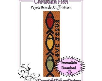 Bead Pattern Peyote(Bracelet Cuff)-Christian Fish