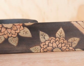Leather Guitar Strap - Handmade in the Ellie pattern with flowers  -  Strap for Acoustic or Electric Guitars or Banjo