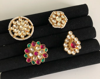 Big kundan ring, Kundan ring, India kundan ring, padmavati ring, Bollywood jewelry, India wedding ring