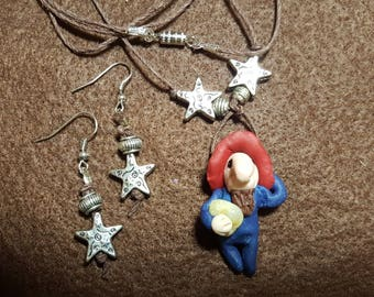 """Gnome """"Hubert"""" Necklace and Earrings"""