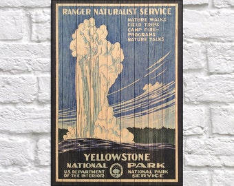 Yellowstone Travel Poster print Wood wall art National Park Travel Gift for Men gift for Boyfriend gift for Traveller Panel effect Wood sign