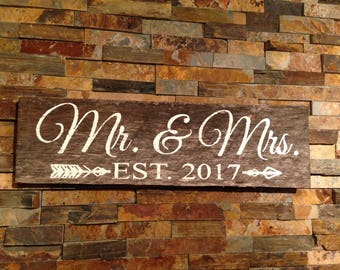 Mr. & Mrs. EST.  sign, personalized barn wedding sign, barn wedding, rustic wedding, personalized wedding sign, rustic decor, personalized