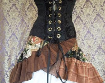 "XS Patchwork Ruffle Wrap Skirt ""Little Brownie"" Mini-Knee Length"