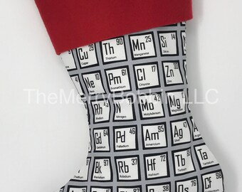 Periodic Table Christmas Stocking, Science Stocking, Christmas Stocking, Personalized Stockings, Periodic Table