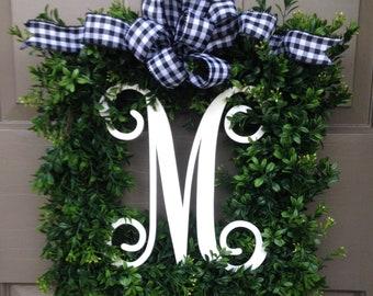 Monogram Boxwood Wreath (Black/White Check Bow)