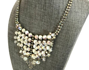 Czech Crystal and Ice Rhinestone Bib Faceted Crystal Bead Dangles A B Chatons Wedding Necklace Special Occasion Vintage Gift for Her