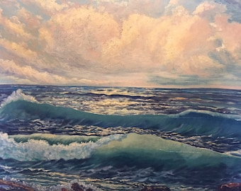 Early Vintage Original Oil Painting on Canvas SEASCAPE Ocean Fabulous TEXAS FIND