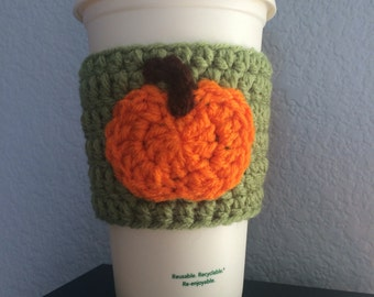 Coffee Cozy with Pumpkin, Coffee Sleeve