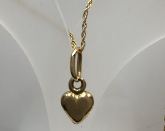 10k Smallest Gold Heart Pendant Charm, Solid Gold 10K ,Valentines Gold Heart ,Heart Pendant