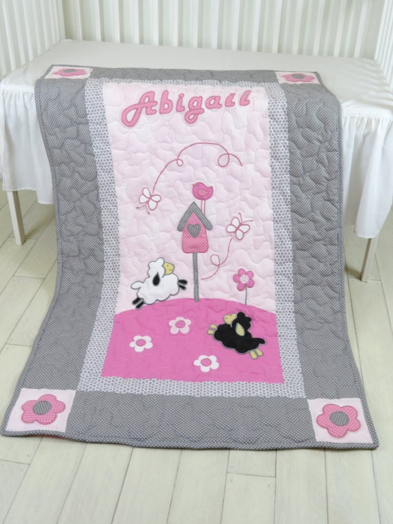 Pink Gray  Baby Blanket,  Personalized Lamb  Crib Blanket, Organic Child Bedding
