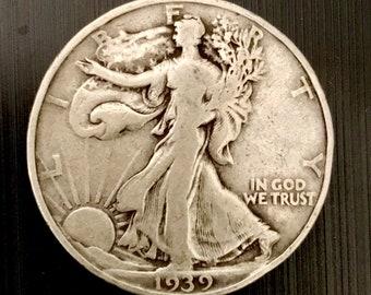 1939 Walking Liberty Silver Half Dollar 90% Silver.  #W013