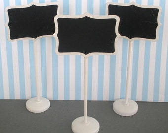 Chalkboard Stands (3) White Wood Finish Name Place Settings Buffet Table Weddings Birthdays Food Labels Table Markers