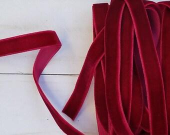 3/8 WINE Velvet NON ELASTIC Ribbon