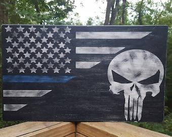 Punisher Skull with flag, Blue line, Police, Punisher Skull, American flag, Rustic Punisher Skull