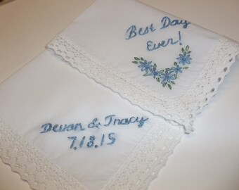 Best day ever wedding handkerchief, hand embroidered, bouquet wrap, something blue, wedding colors welcome, name & date added on opp side