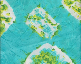 """2 Yards 44"""" Wide Beautiful Eye Popping Blue and Green Abstract Print Vintage Lining Great Condition"""