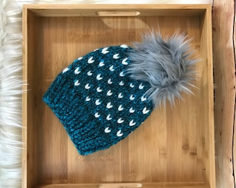 Ready to ship Knit hearts hat, knit beanie with faux fur pompom, teal blue beanie, chunky knit beanie with pompom, womans beanie, chunky hat