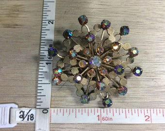 Vintage Gold Toned Burst Pin Brooch Aurora Borealis Rhinestones Some Corrosion Used