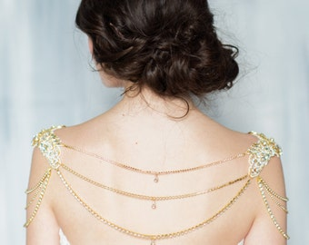 Gold Bridal Shoulder Necklace, Crystal Bolero, Lace Shoulder Piece, Shoulder Necklace, Rose Gold Jewelry Silver Statement Necklace JACQUELYN