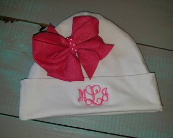 Personalized monogrammed White newborn cotton hat with bow.