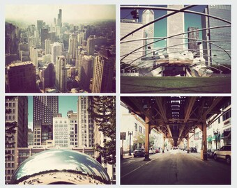 Set of 4, Chicago photographs, print set, Chicago art, Chicago pictures, home decor, wall art, discounted set