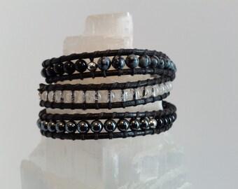 Womens or Mens Triple wrap leather Intention Transformation bracelet