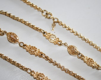 Crown Trifari Gold Chain Necklace 37in