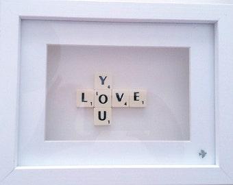 Love You Scrabble Tile Frame