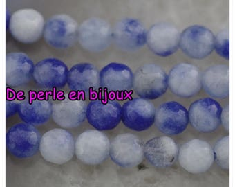 10pc - agate has facet blue, White Pearl 6mm bead semi precious gemstone 6mm seed