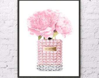 Valentino art print Valentino perfume with Pink Peony flowers Valentino poster Valentino painting Flowers art print Fashion art print