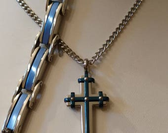 Cross Necklace Set, Stainless Steel, THIN*BLUE*LINE Cross, Chain, Bracelet, Officers, Support, Blue Line, Memory Bracelet Cross Set