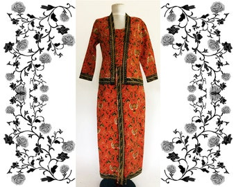 "1970's Vintage ""Vogue Dress Shop Singapore"" Asian Skirt Two Piece skirt and blouse set"