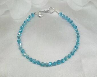 Aquamarine Bracelet Crystal Bracelet Heart Bracelet 925 Sterling Silver Bracelet Aqua Blue Bracelet Light Blue Bracelet BuyAny3+Get1 Free