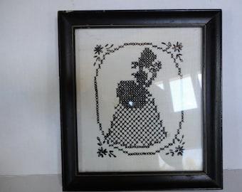 Vintage Handstitched Framed Needlework