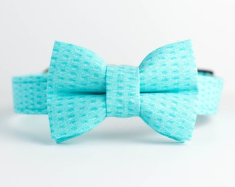 Spring Summer Dog Collar with Bowtie - Turquoise